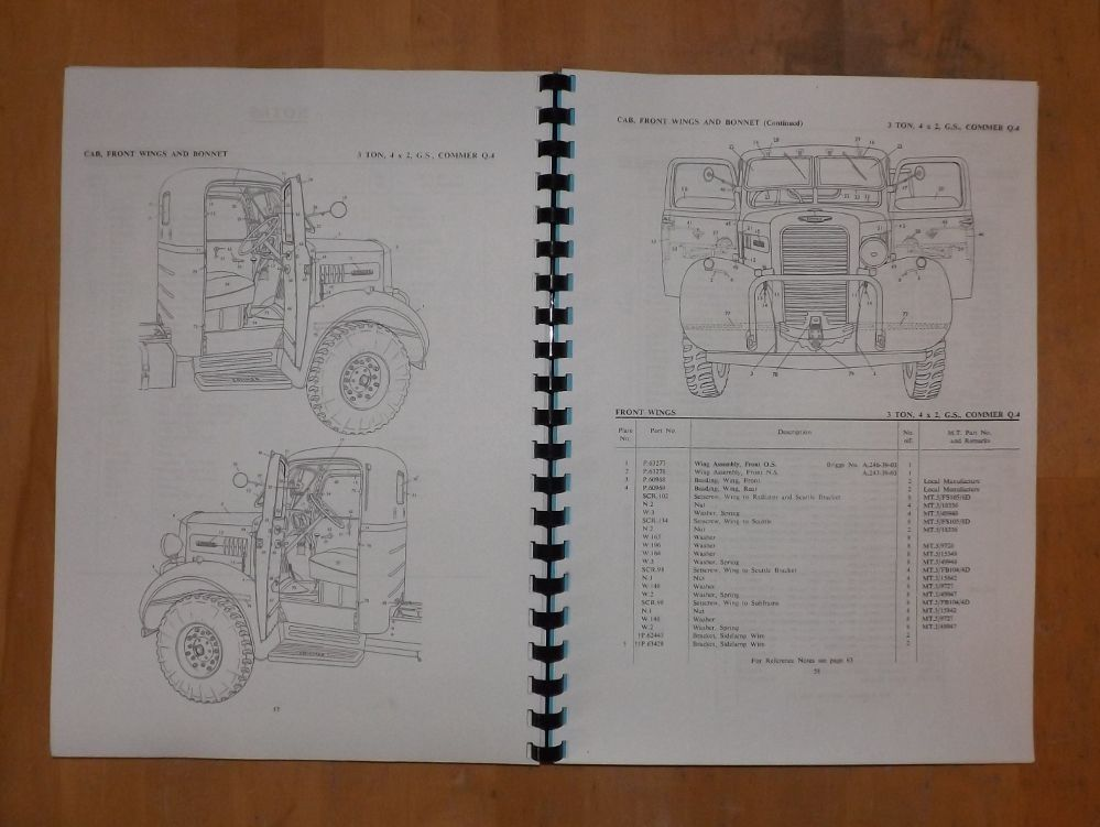 Commer Q4  3 Ton Lorry  Spare Parts List